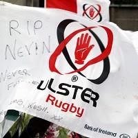 Tributes are left at Ulster's Ravenhill ground for Nevin Spence