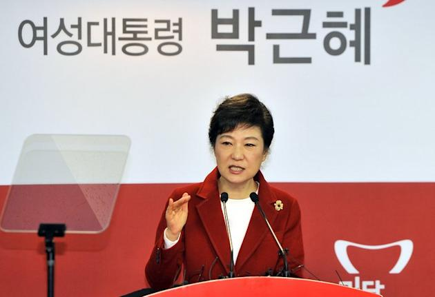 South Korea's incoming president Park Geun-Hye, pictured at New Frontier Party's office in Seoul, on December 18, 2012