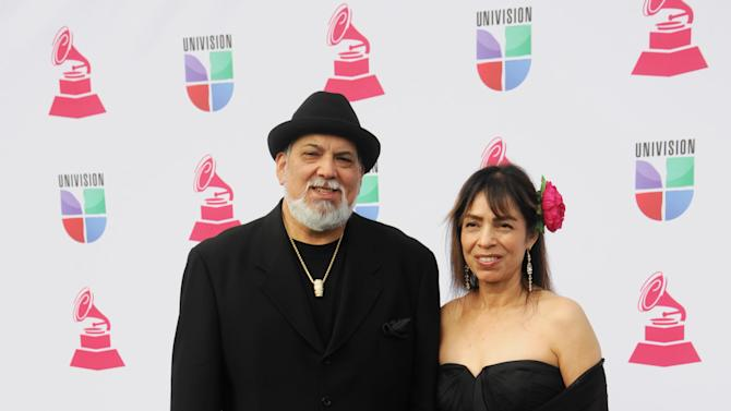 Poncho Sanchez, left, and Stella Sanchez arrive at the 13th Annual Latin Grammy Awards at Mandalay Bay on Thursday, Nov. 15, 2012, in Las Vegas. (Photo by Brenton Ho/Powers Imagery/Invision/AP)