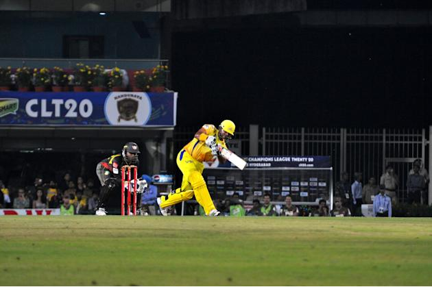 Chennai Super Kings batsman Suresh Raina in action against Hyderabad Sunrisers at Champions League Twenty-20 Match at Jharkhand State Cricket Association (JSCA) International Cricket Stadium in Ranchi