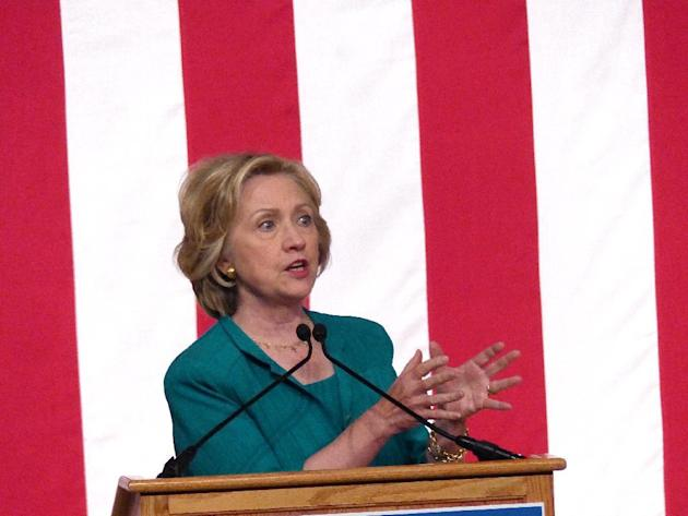 Democratic presidential candidate, former Secretary of State Hillary Rodham Clinton calls on Congress to end the trade embargo the U.S. has imposed against Cuba since 1962, Friday, July 31, 2015, duri