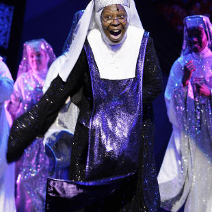 "FILE - In this Aug. 10, 2010 file photo, U.S. actress and producer Whoopi Goldberg performs during a dress rehearsal, as she joins the theatre cast of the musical ""Sister Act"" at the London Palladium Theatre. Goldberg also starred in the 1992 film version. Producer Ally Sherman and writers Kristen ""Kiwi"" Smith and Carol McCullah are set to create a new take of the original 1992 film. The film is still under development and details are not being released. Sister Act starred Whoopi Goldberg, Maggie Smith and Kathy Njimy in a story about a singer finding sanctuary from mobsters as a nun in a convent. (AP Photo/Joel Ryan, file)"