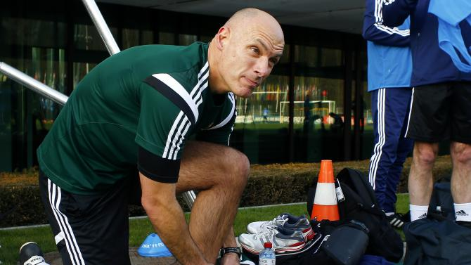 England's referee Howard Webb takes part in a training camp for referees for the 2014 FIFA World Cup Brazil at the FIFA headquarters in Zurich