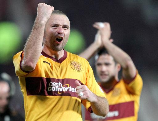 Michael Higdon, pictured, scored for Motherwell before substitute Thomas Reilly scored a late equaliser for St Mirren