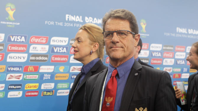 Russia head coach Fabio Capello from Italy arrives for the draw ceremony for the 2014 soccer World Cup in Costa do Sauipe near Salvador, Brazil, Friday, Dec. 6, 2013