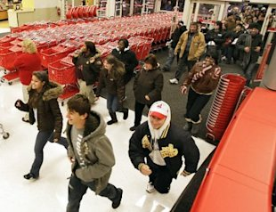A mob of Target shoppers race towards Black Friday deals