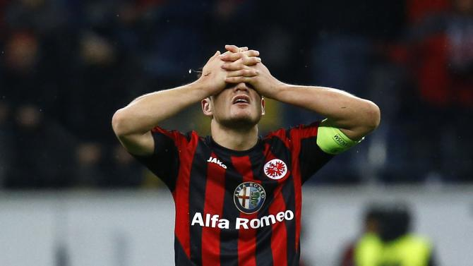 Eintracht Frankfurt's team captain Pirmin Schwegler reacts after their Europa League soccer match against Porto in Frankfurt