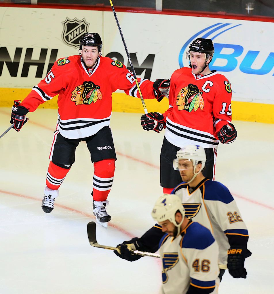 Chicago blackhawks center jonathan toews 19 reacts after scoring the