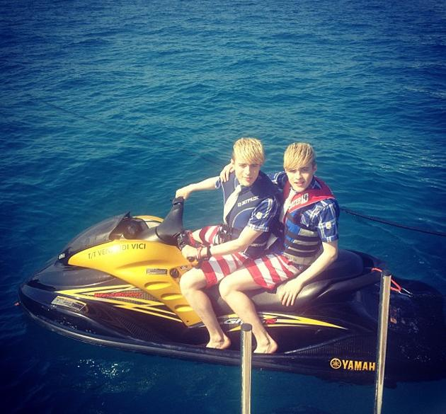 "Celebrity photos: Jedward spent time hanging out on a jet ski this week – as you do. They tweeted the photo alongside the caption: ""JEDSki Riding the Waves!"""