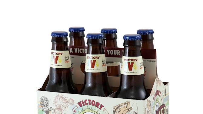 In this May 25, 2011 publicity photo provided by Victory Brewing Company, a Summer Love ale six-pack carrier is shown in Wilmington, Del. (AP Photo/Victory Brewing Company, Jessica Bratton)