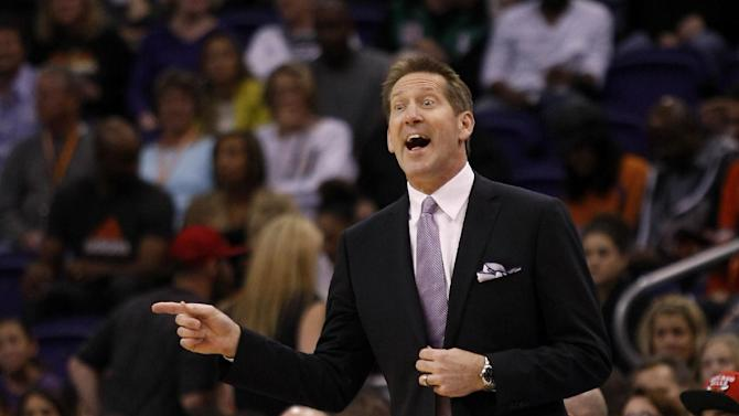 Phoenix Suns head coach Jeff Hornacek calls out a play in the first quarter during an NBA basketball game against the Denver Nuggets, Sunday, Jan. 19, 2014, in Phoenix
