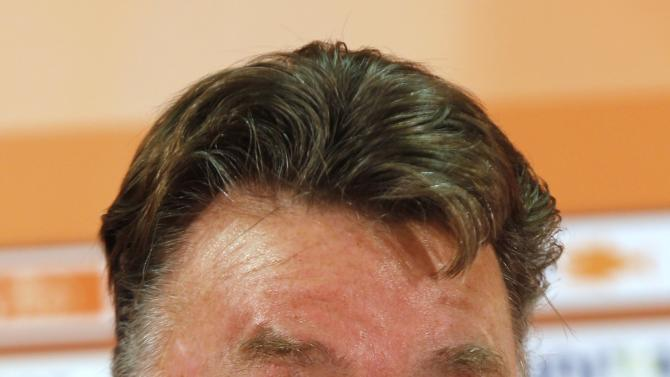 Netherlands' national soccer team coach Van Gaal speaks during a news conference in Istanbul