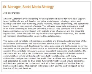 A Case for Building a Social Media Function in Customer Support image Specific Tweets Amazon Job 06 11 13