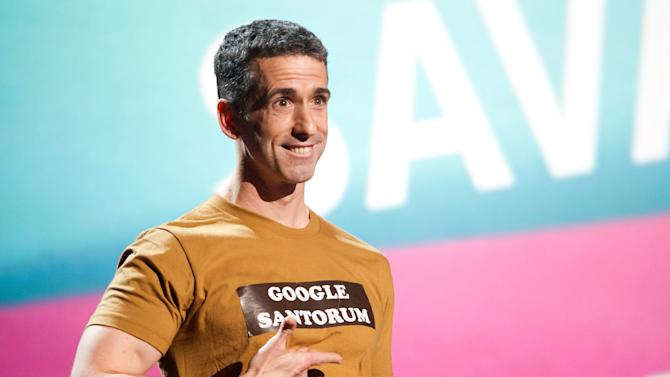 "FILE - In this June 13, 2011 file photo, Dan Savage appears onstage at the 15th Annual Webby Awards in New York. The 47-year-old columnist, podcaster and pundit answers questions from college students around the country on ""Savage U,"" which premieres Tuesday, April 3, 2012, on MTV. (AP Photo/Charles Sykes, File)"