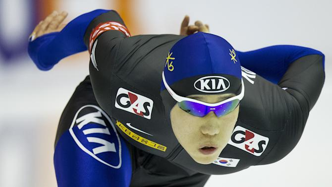 South Korea's Tae-Bum Mo competes during the 500m event during the World Cup Speed Skating tournament in Heerenveen on March 25, 2012. AFP PHOTO / ANP / JERRY LAMPEN netherlands out  (Photo credit should read JERRY LAMPEN/AFP/Getty Images)