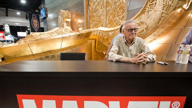 "In this film publicity image released by Wrekin Hill, Marvel Comic creator Stan Lee is shown in a scene from ""Comic-Con Episode IV: A Fan's Hope."" (AP Photo/Wrekin Hill)"