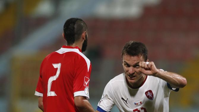 Czech Republic's Lafata celebrates scoring a goal against Malta during their 2014 World Cup qualifying soccer match at the National Stadium in Ta' Qali