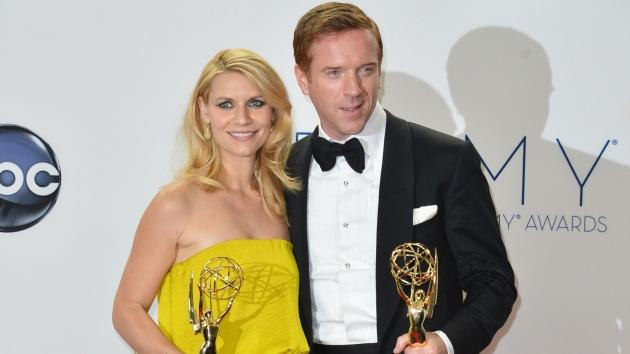 Claire Danes and Damian Lewis pose in the 64th Annual Emmy Awards press room at Nokia Theatre L.A. Live in Los Angeles on September 23, 2012 -- Getty Premium