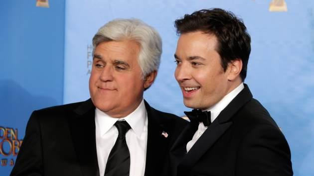 Jay Leno and Jimmy Fallon pose in the press room at the 70th Annual Golden Globe Awards held at The Beverly Hilton Hotel on January 13, 2013 in Beverly Hills -- WireImage