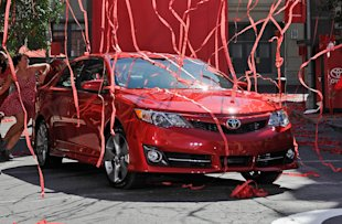 The redesigned 2012 Toyota Camry SE was unveiled on the Paramount Studios lot in Hollywood, California.