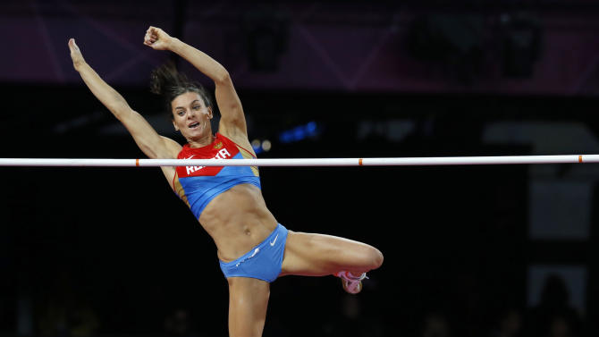 Russia's Yelena Isinbayeva clears the bar during the women's pole vault final at the London 2012 Olympic Games