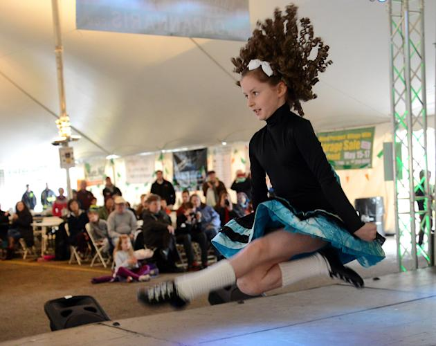 Eleven-year-old Cece Stefo of Glenview, Ill., flies through the air while dancing for the Shiela Tully Academy of Irish Dance. Stefo recently competed in the World Irish Dance Championship in Montreal