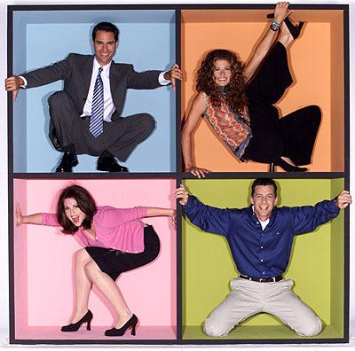 Clockwise: Eric McCormack, Debra Messing, Sean Hayes and Megan Mullally on NBC's Will and Grace