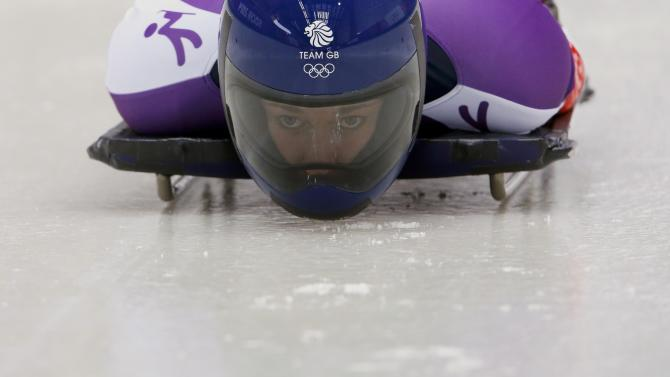 Britain's Yarnold speeds down the track at a women's skeleton training session in Rosa Khutor, during the Sochi 2014 Winter Olympics