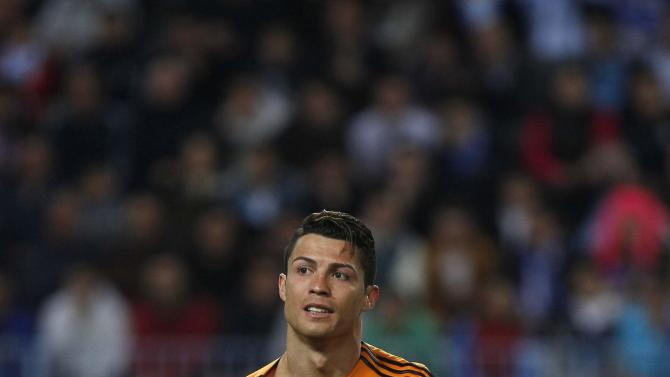 Real Madrid's Cristiano Ronaldo reacts during his Spanish First Division soccer match against Malaga in Malaga