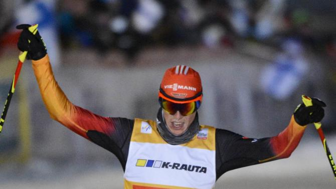 Frenzel of Germany reacts as he wins the men's 10km cross-country skiing competition of Nordic Combined at FIS World Cup Ruka Nordic Opening in Kuusamo