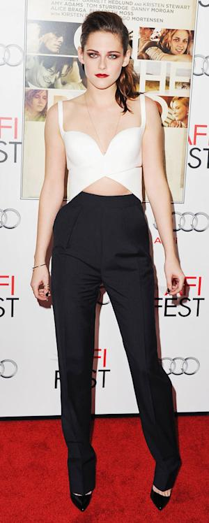 Kristen Stewart Bares Toned Midriff, Shows Cleavage at On the Road Screening