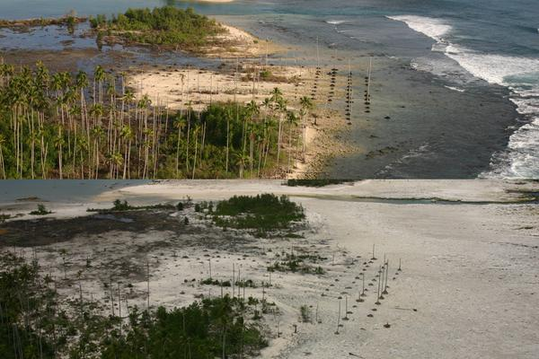 Before (top) and after (bottom) photos of Nias Island off the west coast of Sumatra in Indonesia. The island was uplifted more than 8 feet (2.5 meters) during at 2005 earthquake.
