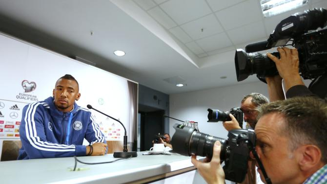 German national soccer player Jerome Boateng attends a news conference in Frankfurt