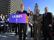 Mayor Eric Garcetti announces the Los Angeles City Council's unanimous final approval vote to bid for the 2024 Summer Olympics, on January 25, 2017