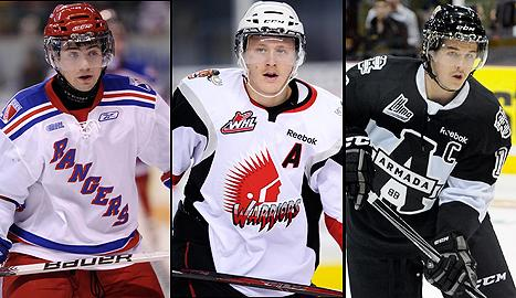 Team Canada hopefuls (left to right) Ryan Murphy, Morgan Rielly, and Xavier Ouellet.