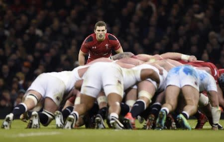 Wales' George North waits for a scrum during their Six Nations Rugby Union match at the Millennium stadium in Cardiff