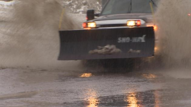 Many roads in Newfoundland filled up with water on Tuesday, due to rainfall and melting snow.
