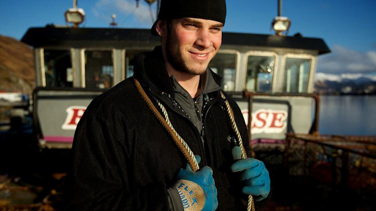 "Ramblin' Rose Deckhand James Creel, works to prepare the Ramblin' Rose for fishing as seen on ""Deadliest Catch."""