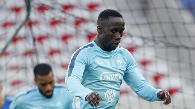 France's national soccer player Bacary Sagna attends a training session at Allianz Riviera stadium in Nice