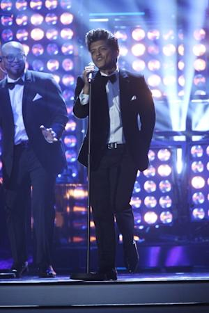Bruno Mars performs at The Brit Awards 2012 at The O2 Arena, Los Angeles, on February 21, 2012 -- Getty Images