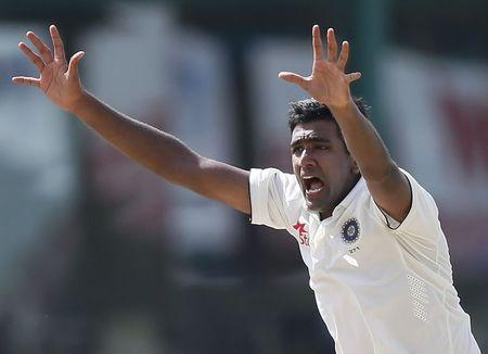 India's Ashwin appeals for an unsuccessful wicket for Sri Lanka's captain Mathews during the final day of their third and final test cricket match in Colombo