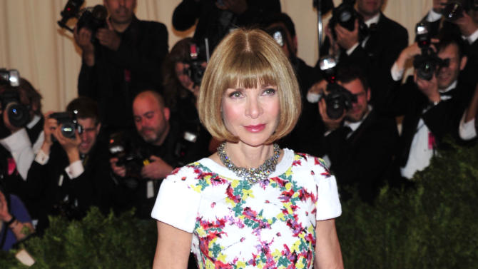"Anna Wintour attends The Metropolitan Museum of Art's Costume Institute benefit celebrating ""PUNK: Chaos to Couture"" on Monday May 6, 2013 in New York. (Photo by Charles Sykes/Invision/AP)"