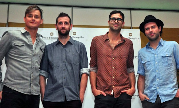 "(L-R) Tom Chaplin, Richard Hughes, Tim Rice-Oxley, and Jesse Quin, seen during the press conference of British alternative rock band ""Keane"".(George Calvelo/NPPA Images)"
