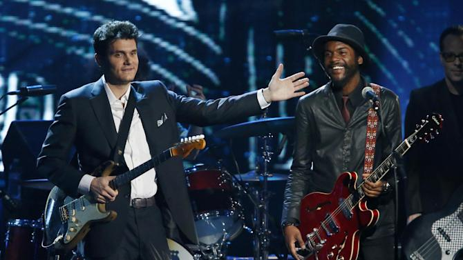 John Mayer and Gary Clark Jr. react on stage after performing in tribute as Albert King is posthumously inducted into the Rock and Roll Hall of Fame during the Rock and Roll Hall of Fame Induction Ceremony at the Nokia Theatre on Thursday, April 18, 2013 in Los Angeles. (Photo by Danny Moloshok/Invision/AP)