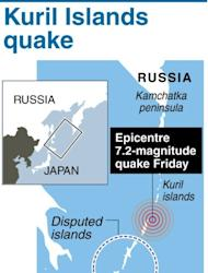 Graphic showing the epicentre of a 7.2-magnitude quake that rocked northern Japan on Friday