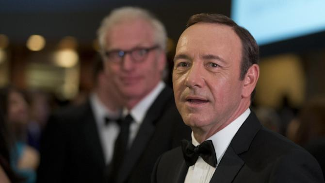 """Actor Kevin Spacey, from the Washington based Netflix series """"House of Cards, the White House Correspondents' Association Dinner at the Washington Hilton Hotel, Saturday, April 27, 2013, in Washington.  (AP Photo/Carolyn Kaster)"""