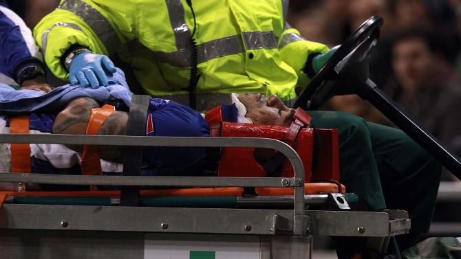 Samoa's Brando Vaaulu is taken from the pitch on a stretcher after receiving an injury against Ireland during the international rugby union match at Aviva stadium in Dublin