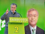 Moon Jae-In, of the Democratic United Party, speaks during his election campaign in Incheon on December 17, 2012. Voters face a clear choice between the ruling conservative party candidate Park Geun-Hye and her liberal rival from the main opposition party, Moon.