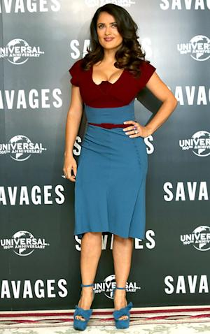 """Salma Hayek Sexts With Husband, Worries About Her """"Chubbiness"""""""