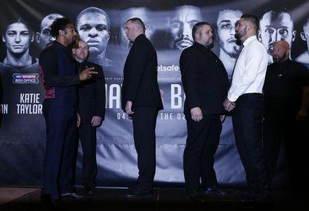 David Haye and Tony Bellew during the press conference